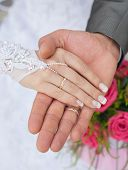 Hands and rings it is wedding bouquet