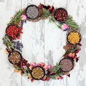 Medicinal herb selection also used in witches magical potions forming a wreath over distressed wooden  background.