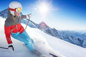 stock photo of snow-slide  - Girl On the Ski - JPG