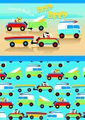 picture of beep  - Cute animals driving to the beach with matching pattern - JPG
