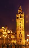 Giralda Bell Tower Seville Cathedral Rainy Night Car Trails Spain
