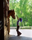 stock photo of horse girl  - Girl Petting Horse - JPG