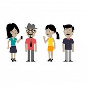 set of 4 hipster characters, easy editable for different poses - prepared for computer cutout animation