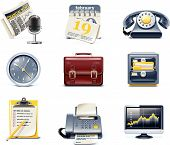 image of business-office  - Set of detailed business icons in  blue and yellow colours - JPG