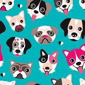 Seamless pug dalmatian husky and other dog breeds illustration background pattern in vector