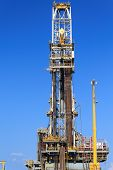 Derrick Of Tender Drilling Oil Rig (barge Oil Rig) On The Production Platform