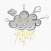 Grey cloud in Anger, showing electric lightning, raindrops and stormy cloud. Bad Weather Concept.