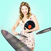 Beautiful 70S Dj Pinup Girl With Record Music Disc