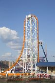 The Thunderbolt roller coaster under construction at the Coney Island of Brooklyn
