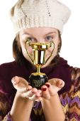 pic of dumbass  - Girl holding a trophy for the dumbass of the year - JPG