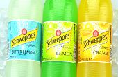 Bottles of Schweppes drink on ice cubes
