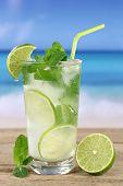 Mojito Or Caipirinha Cocktail On The Beach