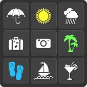 Set Of 9 Summer Web And Mobile Icons. Vector.