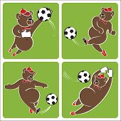 Brown Bear Plays Football.cartoon Vector Humorous Illustration Set