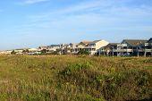 stock photo of dune grass  - Row of beach houses on the grass covered sand dune - JPG