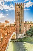 Scaliger Bridge (castelvecchio Bridge) In Verona, Italy