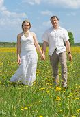 Couple Walking On Meadow