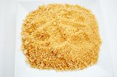Seasoned Panko Bread Crumbs On A Plate