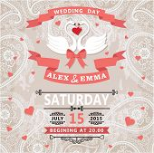 Wedding Invitation With Swans Couple And Paisley Lace