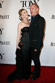 NEW YORK-JUNE 8: Recording artist Sting (R) and wife Trudie Styler attend American Theatre Wing's 68