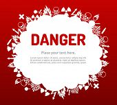 stock photo of biological hazard  - Danger sign set in cloud banner for your text - JPG