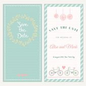 stock photo of tandem bicycle  - Two sides of the wedding invitation with bicycle - JPG