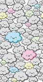 Seamless Cute Clouds Vector Pattern