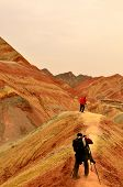 pic of landforms  - Zhangye Danxia landform located in Linze County, an area more than one hundred square hilly areas, there are strange shapes, colors spot a false charge, the magnificent landform. 