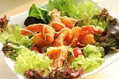 Deep fried prawns salad