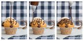 pic of triptych  - Triptych of home made chocolate chip muffins with icing frosting being applied - JPG
