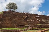 SIGIRIYA, SRI LANKA - 28 FEBRUARY, 2014: Group of tourists visiting Sigiriya complex, UNESCO listed