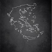 Greece map blackboard chalkboard raster