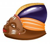 stock photo of african mask  - Illustration of the african mask colored isolated on the white background - JPG