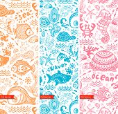 Vector set of banners with fish and shells