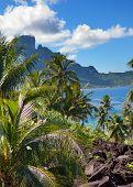 Azure lagoon of island BoraBora Polynesia. Mountains the sea palm trees