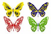 Red Blue Green Yellow Paint Made Butterfly Set