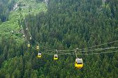 The Alps mountains cableway, forest background