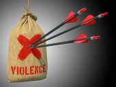 Violence - Arrows Hit in Red Mark Target.