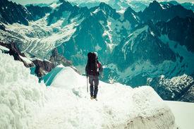 stock photo of climb up  - Mont Blanc Chamonix French Alps - JPG