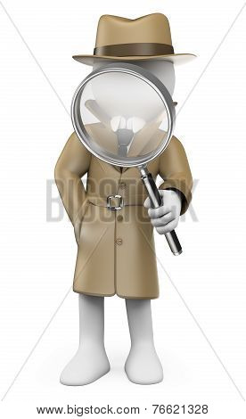 3D White People Detective Private