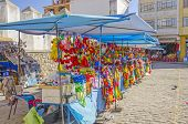 COPACABANA, BOLIVIA, MAY 6, 2014: stands with religious merchandise in front of  Basilica of Our Lady of Copacabana