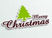 Stylish sticky with Xmas tree and creative text for Merry Christmas festival celebrations.