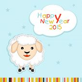 Happy New Year 2015 celebrations greeting card with cute sheep and colorful text on star decorated blue background, Year of the Sheep concept.