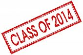 Class Of 2014 Red Square Stamp Isolated On White Background
