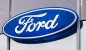 Samara, Russia - November 8, 2014: The Emblem Ford On The Office Of Official Dealer. Ford Motor Comp