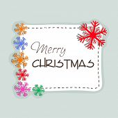 Beautiful Merry Christmas celebrations greeting card design decorated with stylish text and colorful snowflakes on grey background.