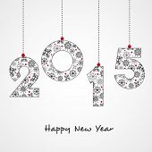 Snowflakes decorated hanging text 2015 for Happy New year celebrations on grey background.