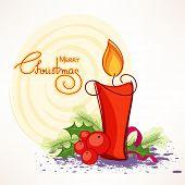 Merry Christmas celebrations greeting card design decorated with stylish text, illuminated candle and mistletoe on creative background.