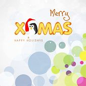 Merry Christmas and Happy Holidays celebrations greeting card design with stylish text and penguin in Santa cap on stylish colorful background.