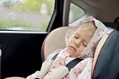image of seatbelt  - toddler girl is sleeping in car seat - JPG